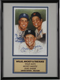 Baseball Collectibles:Others, Willie, Mickey and the Duke Multi-Signed Lithograph. Thecenterfield monarchy of 1950s New York City are pictured together...