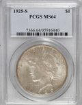 Peace Dollars: , 1925-S $1 MS64 PCGS. PCGS Population (1491/36). NGC Census:(1365/55). Mintage: 1,610,000. Numismedia Wsl. Price for NGC/PC...