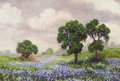 Texas:Early Texas Art - Impressionists, BERLA IYONE EMEREE (American, 1899-1948). Live Oaks andBluebonnets. Oil on canvas laid on board. 10 x 14 inches (25.4x...