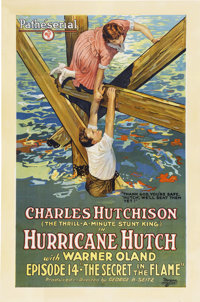 """Hurricane Hutch (Pathé, 1921). One Sheet (27"""" X 41""""). Episode 14 -- """"The Secret in the Flame.""""..."""