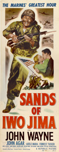 "Movie Posters:War, Sands of Iwo Jima (Republic, 1950). Insert (14"" X 36"")...."