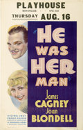 "Movie Posters:Crime, He Was Her Man (Warner Brothers, 1934). Window Card (14"" X 22"")...."