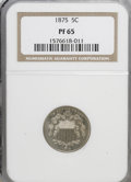 Proof Shield Nickels: , 1875 5C PR65 NGC. NGC Census: (58/20). PCGS Population (61/8).Mintage: 700. Numismedia Wsl. Price for NGC/PCGS coin in PR6...