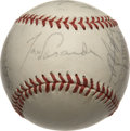 Autographs:Baseballs, 1987 Los Angeles Dodgers Team Signed Baseball with Kerry WoodSingle Signed Baseball. Tom Lasorda's 1987 LA Dodgers are rep...