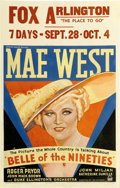 """Movie Posters:Comedy, Belle of the Nineties (Paramount, 1934). Window Card (14"""" X22"""")...."""