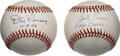 Autographs:Baseballs, Don Larsen Single Signed Baseball with Ralph Branca and BobbyThomson Dual-Signed Baseball. Brilliant pair of signed baseba...