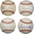 Autographs:Baseballs, Hall of Fame Sluggers Single Signed Baseballs Lot of 4. Each of theHall of Famers featured here was one of the premier bat...