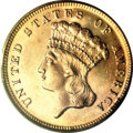 Three Dollar Gold Pieces, 1868 $3 MS64 PCGS....