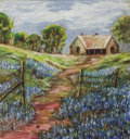 Texas:Early Texas Art - Impressionists, GODDARD (20th Century). Homestead with Bluebonnets. Oil onboard. 14 x 13 inches (35.6 x 33.0 cm). Signed lower right: ...