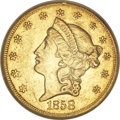 Liberty Double Eagles, 1858-S $20 AU55 NGC....