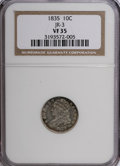 Bust Dimes: , 1835 10C VF35 NGC. JR-3. NGC Census: (8/386). PCGS Population(16/319). Mintage: 1,410,000. Numismedia Wsl. Price for NGC/...