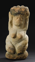 Other: , Yoruba (Nigeria). Female Figure. Stone. Height: 15 ½ inches Width: 7 inches Depth: 6 ¼ inches. A kneeling female figure...