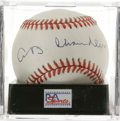 Autographs:Baseballs, Happy Chandler Single Signed Baseball, PSA NM-MT 8. Hall of Famecommissioner Happy Chandler, who was in office to see Jack...