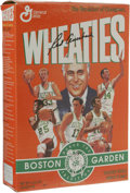 "Basketball Collectibles:Others, Red Auerbach Signed Wheaties Box. Unopened box of ""The Breakfast ofChampions"" pictures six Hall of Fame members of the Bos..."