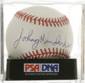 Autographs:Baseballs, Johnny Vander Meer Single Signed Baseball, PSA NM+ 7.5. The starpitcher makes note of the dates of his back-to-back no-hit...
