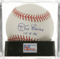"Autographs:Baseballs, Don Larsen ""10-8-56"" Single Signed Baseball, PSA Mint+ 9.5. Themajors' only World Series perfect game pitcher makes refere..."