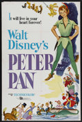 "Movie Posters:Animated, Peter Pan (Buena Vista, R-1969). One Sheet (27"" X 41""). Animation. Starring Bobby Driscoll, Kathryn Beaumont, Hans Conried a..."