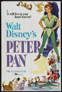 "Peter Pan (Buena Vista, R-1969). One Sheet (27"" X 41""). Animation. Starring Bobby Driscoll, Kathryn Beaumont..."