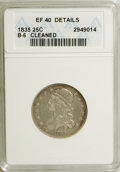 Bust Quarters, 1835 25C --Cleaned--ANACS. XF40 Details. B-6, R.3. NGC Census: (26/263). PCGS Population (39/192). Mintage: 1,952,000. Numi...