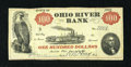 Obsoletes By State:Ohio, Marietta, OH- Ohio River Bank $100 June 15, 1838. ...