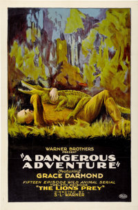 "A Dangerous Adventure (Warner Brothers, 1922). One Sheet (27"" X 41"") Episode 12--- ""The Lion's Prey.""..."
