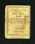 Colonial Notes:Pennsylvania, Pennsylvania April 10, 1777 9d Fine....