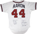 Autographs:Jerseys, 500 Home Run Club Multi-Signed Jersey. Far more scarce anddesirable than posters and lithographs bearing the signatures of...