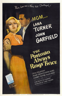 "The Postman Always Rings Twice (MGM, 1946). One Sheet (27"" X 41"")"