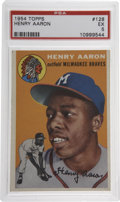 Baseball Cards:Singles (1950-1959), 1954 Topps Henry Aaron #128 PSA EX 5. Important rookie card fromthe coveted 1954 Topps baseball set features the exception...