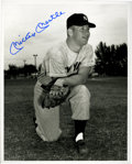Autographs:Photos, Mickey Mantle Signed Photograph. Posing in his Yankee road grays, ayoung Mickey Mantle makes for spectacular subject matte...