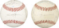 Autographs:Baseballs, Miscellaneous Multi-Signed Baseballs Lot of 2. While one of theoffered baseballs has the signatures a 12 former members o...