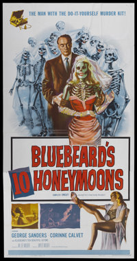 "Bluebeard's Ten Honeymoons (Allied Artists, 1960). Three Sheet (41"" X 81""). Mystery"