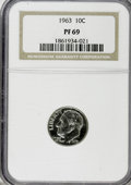 Proof Roosevelt Dimes: , 1963 10C PR69 NGC. NGC Census: (169/0). PCGS Population (154/12).Mintage: 3,075,645. Numismedia Wsl. Price for NGC/PCGS co...