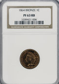 Proof Indian Cents, 1864 1C Bronze No L PR63 Red and Brown NGC....