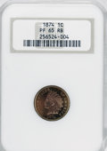 Proof Indian Cents, 1874 1C PR65 Red and Brown NGC....