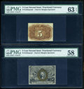 Fractional Currency:Second Issue, Fr. 1232SP 5c Second Issue Narrow Margin Pair PMG Choice About Unc 58/Choice Uncirculated 63 EPQ.... (Total: 2 notes)