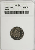 Bust Dimes: , 1820 10C Large 0 VF20 ANACS. JR-7. NGC Census: (2/201). PCGSPopulation (3/143). Mintage: 942,587. Numismedia Wsl. Price f...