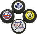 Hockey Collectibles:Others, Hockey Hall of Famers Signed Pucks Lot of 4. Each of the four official NHL pucks that we present here has been signed by a ...