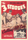 """Movie Posters:Comedy, The Three Stooges in """"Calling All Curs"""" (Columbia, 1939). One Sheet (27"""" X 41"""")...."""
