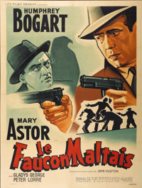 "The Maltese Falcon (Warner Brothers, R-1962). Post-War Release French Grande (47"" X 63"")"