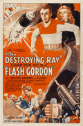 """Movie Posters:Serial, Flash Gordon (Universal, 1936). Autographed One Sheet (27"""" X 41"""") Chapter 5 -- """"The Destroying Ray"""".. ..."""