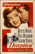 """Movie Posters:Crime, Deception (Warner Brothers, 1946). One Sheet (27"""" X 41"""")...."""