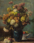 Fine Art - Painting, European:Antique  (Pre 1900), CHARLES VICTOR TILLOT (French, 1825-1877). Floral Still Life inBlue Vase. Oil on canvas. 31-3/4 x 26-1/2 inches (80.6 x...