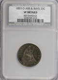 Seated Quarters, 1853-O 25C --Reverse Damage--Arrows and Rays VF20 NCS. VF20Details. NGC Census: (1/61). PCGS Population (0/70). Mintage: 1,...