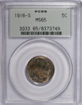 Buffalo Nickels, 1916-S 5C MS65 PCGS....