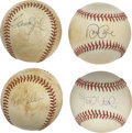Autographs:Baseballs, Star Pitchers Single Signed Baseballs Lot of 4. Some luckycollector will earn the chance to own this group of four single...
