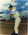 Autographs:Photos, Mickey Mantle Signed Photograph. Catch the Mick as he poses duringa New York Yankee spring training. Unimprovable blue sh...
