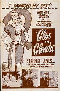 "Glen or Glenda (I Led Two Lives) (Screen Classics Inc., 1953). One Sheet (27"" X 41"")"