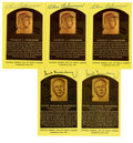 Autographs:Post Cards, Hank Greenberg and Charlie Gehringer Signed Gold Hall of Fame Plaques Lot of 5. Two of the legendary pillars of the storied...