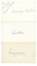 Autographs:Index Cards, Vintage Hall of Famers Signed Index Cards Lot of 3. Each of the three men who contribute their vintage signature is an Old ...